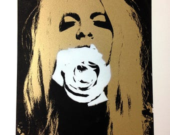 Rose Girl A2 Limited Edition Hand Pulled Screen Print Metallic Gold Flower Framed Art
