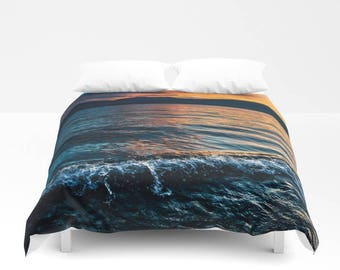 Duvet Cover, Lake Waves Coastal Sunset Clouds Bedding Cover, Nautical Decorative Bedroom Decor, Wanderlust,Bohemian Decor, King, Queen, Full