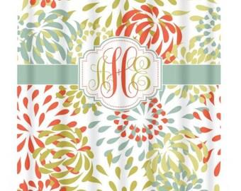 Monogram SHOWER CURTAIN, Floral Pattern, Custom Colors, Personalized Bathroom, Flower Decor Bath, Bath Towel,  Bath Mat, Choose Colors