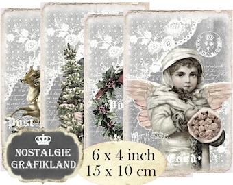 Christmas digital printable Santa Claus Reindeer Wreath Angel Shabby Chic Chalkboard 6 x 4 inch Instant Download digital collage sheet D289
