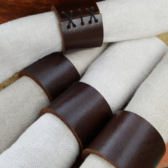 Mahogany Leather Napkin Ring SETS Handcrafted ~ Hostess Gift ~Wedding ~ Dining ~ Alfresco ~ Housewarming ~ Home Decor ~ Gifts for Chefs