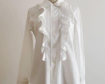Comme des Garçons ruffled white cotton shirt