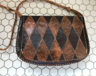 Vintage 1970s French Snakeskin Patchwork Leather Clutch Hand Bag