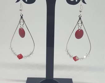Bohemian Earrings: drop / round / red