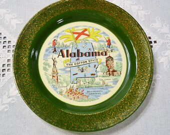 Vintage Alabama State Plate Travel Souvenir Memento Green Gold Details Homer Laughlin Nautilus USA Americana  PanchosPorch