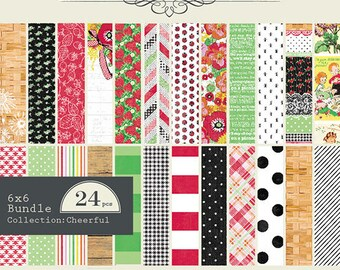 Cheerful 6x6 Paper Pad by Authentique, Assorted Everyday Cardstock Collection