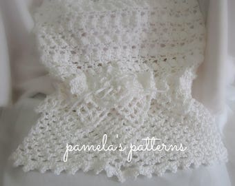 Crochet Priscilla I Sacque Gown, PDF ePattern, 3 to 6 months, Baptism, Christening or Wedding Flower Girl Gown