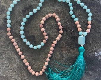 Amazonite & Rosewood Mala Bead
