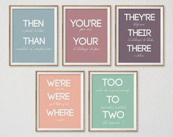 Classroom Poster, Instant Download, Teacher Gift, Back to School, Classroom Decor, Grammar Poster, Set of 5, Teacher Print, Teacher Decor