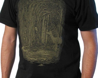 Tangled Forest Shirt - Men's T shirt - Fantasy Art - Surrealism - Deer Shirt - Surreal Art - Screen Print Shirt