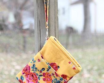 English Garden gold roses wristlet bag for tarot, dice, books, pens, etc.