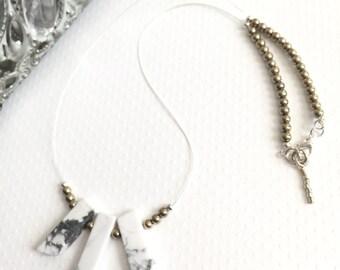 Necklace. Handmade jewelry. Gray and White Necklace. White and Gray Howlite Beaded Necklace. Boho. Chic. Sugarplum Gallery.