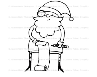 Santa with List Digital Stamp Clipart