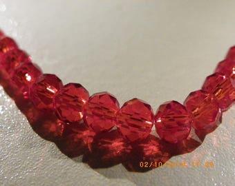 50 6mm imitation cognac way swarovski crystal, 6 mm red beads