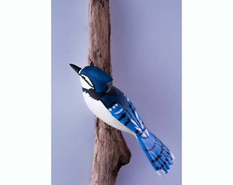 Blue Jay - left facing. Handcrafted, carved  wooden bird, painted bird, home decor, wall decor, Made in USA