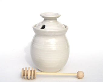 Honey Pot with Dipper - NSW White Glaze