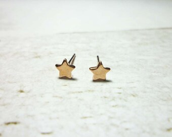 Mini Rose Gold Star Stud Earrings, Dainty Star Earrings