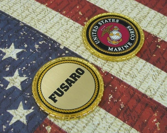 MARINE CORPS COIN Challenge Retirement Promotion Custom Personalized Memorial Coin Marine Logo Name Rank