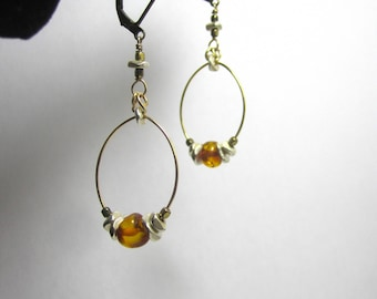 Baltic Amber Brass and Silver Hoop Earrings