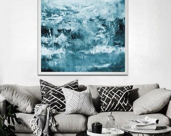 Blue grey abstract giclée Print of painting, blue and gray painting, modern painting, huge wall art, large print, canvas print, modern art