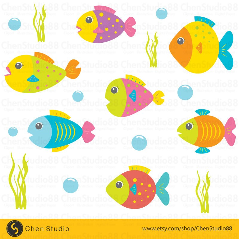 cute fish vector digital clipart instant download eps rh etsy com cute fish clipart png cute fish clipart png