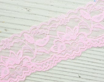 "Stretch Elastic Lace - LIGHT PINK - 2"" Stretch Elastic Lace - Wide Lace Trim - Stretch Lace by the Yard - 2"" Lace - 2 inch Lace Yardage"