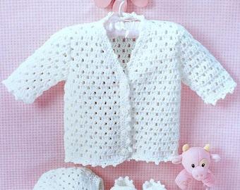 Vintage Crochet Pattern PDF  Baby Matinee Set  Jacket Bonnet Bootees  Layette Coat Cardigan Hat Pram Set