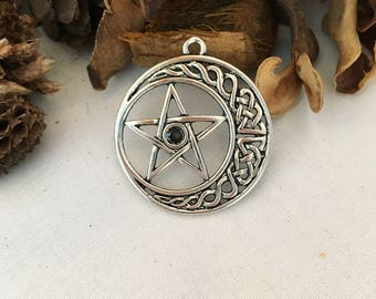 Round Moon and star pendant 5 branches, silver antiqued individually
