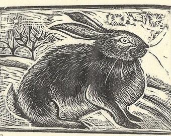 March Hare Original Wood Engraving, Gillian Tyler