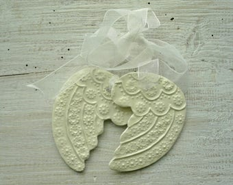 Angel wings-angel wings in white ceramic-hanging Christmas decoration-wall decoration-angel-Christmas Gift