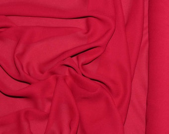"""Double Georgette Fabric New Red  semi sheer sold by the yard 58"""" wide for weddings, dresses or home decor"""