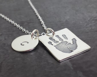 Childs Handprint Necklace - Your Childs ACTUAL Hand print - Sterling Silver Handprint Jewelry - Baby Hand Print Jewelry - Square Handprint