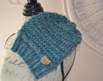 Aqua tweed knitted cap