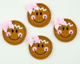 GINGERBREAD FACE - Embroidered Felt Embellishments / Appliques - Brown  (Qnty of 4) SCF4120