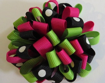 Loopy Puff Bow, Green, Pink, Black
