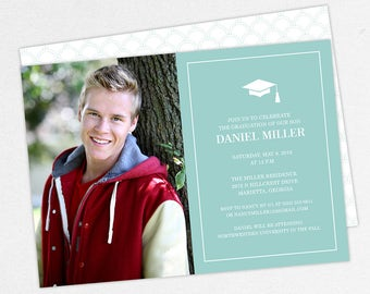 Graduation Invitation, Photo Graduation Invitation, Graduation Announcement, Printable, PDF, DIY, Printed Invites, Modern, Boy, Dan, Blue