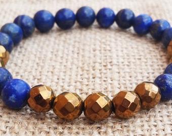 Hematite Bracelet Mens Gold Hematite Bracelet Cool Men Bracelet Lapis Lazuli Bead Bracelet Father's Day Gifts Gifts For Daddy