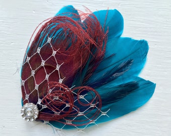 SIDNEY in Deep Dark Jade, Burgundy, Navy, and Aqua Peacock Feather Fascinator with Crystal and Pearl, Feather Hair Clip, Bridal Hair Piece