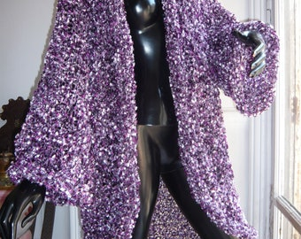 Purple violet lilac handknit festive coat butterfly 3D lurex thread sparkling glittering event kimono party clothing for brilliant women
