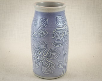 Hand Carved Ceramic Vase - Wheel Thrown - Uniquely Designed Pottery Gift - One of a Kind Stoneware Bottle - Blue and White Flowers