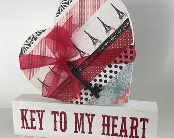 Key To My Heart wooden decor, wooden heart decor, wooden heart wedding decor, wooden key to my heart shelf sitter.