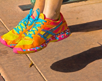 Pink yellow orange turquoise blue Shoes photograph tennis shoes and shadows abstract close up shoes