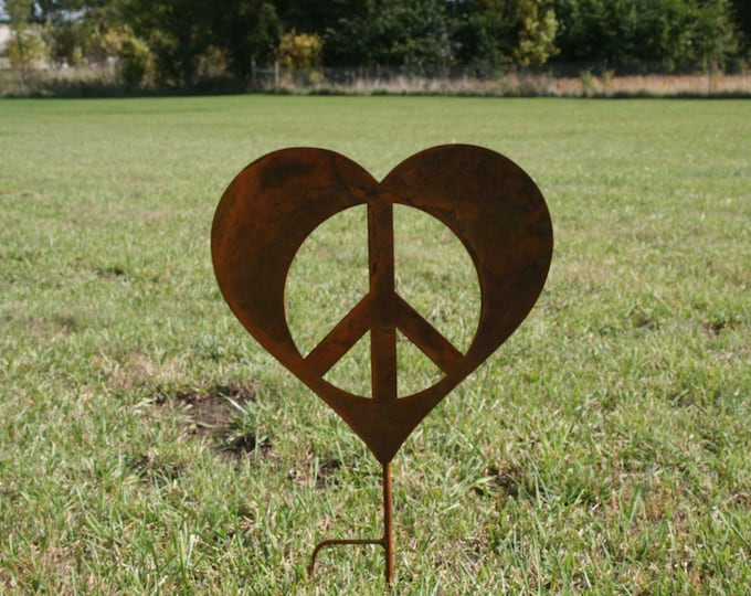 Featured listing image: Metal Heart Peace Sign Garden Stake, Valentine heart, heart yard sign, peace and love, peace hearts, peace sign, peace symbol