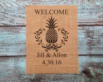 Welcome Sign, Welcome Pineapple, Burlap Wall Decor, Pineapple Welcome Art, Monogrammed gifts, Housewarming gifts, Anniversary, Family Sign