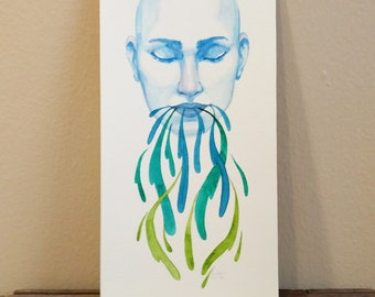 "Original Watercolor Illustration, 6"" x 12"": Green Thumb #5"