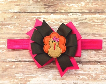 Thanksgiving Headband, Pink Turkey Bow, Turkey Hair Bow, Thanksgiving Hair Bow, Turkey Headband, Pink Turkey Hair Bow, Pink Turkey Headband