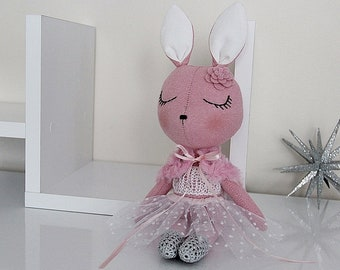 BUNNY FABRIC DOLL - Petite - Peony Pink - Simple and Chic Ballerina Theme - Heirloom Cloth Doll - Limited