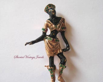 Vintage Hattie Carnegie Josephine Baker Blackamoor Figural Pin Brooch Rhinestones Goldtone