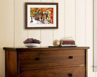 Cityscape art | watercolor PRINT | street scenes | scarsdale new york | watercolor landscape painting | contemporary art