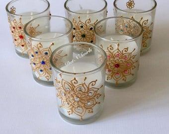 Set of 6, unscented glass votives/party favor/wedding favor/henna candle/wedding decor/henna design/Eid decor/henna votives/Bridemades gift